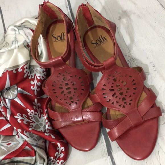 Sofft Shoes - Sofft Red Leather Sandals 9.5